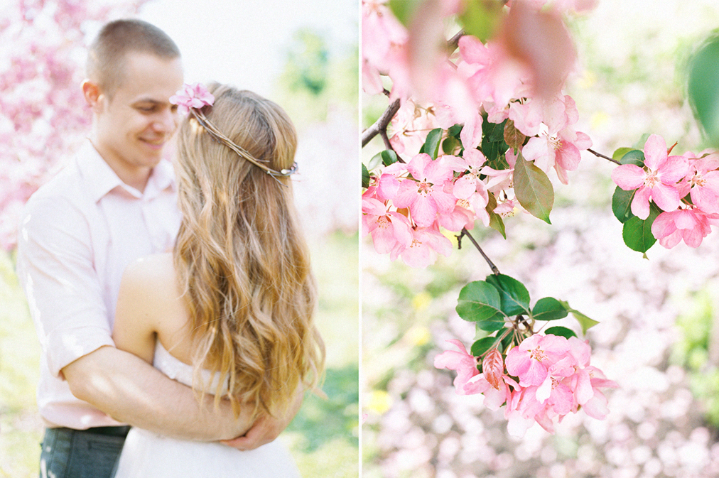 Julia Kaptelova photography spring, pre-wedding, pink, moscow, engagement, blossom
