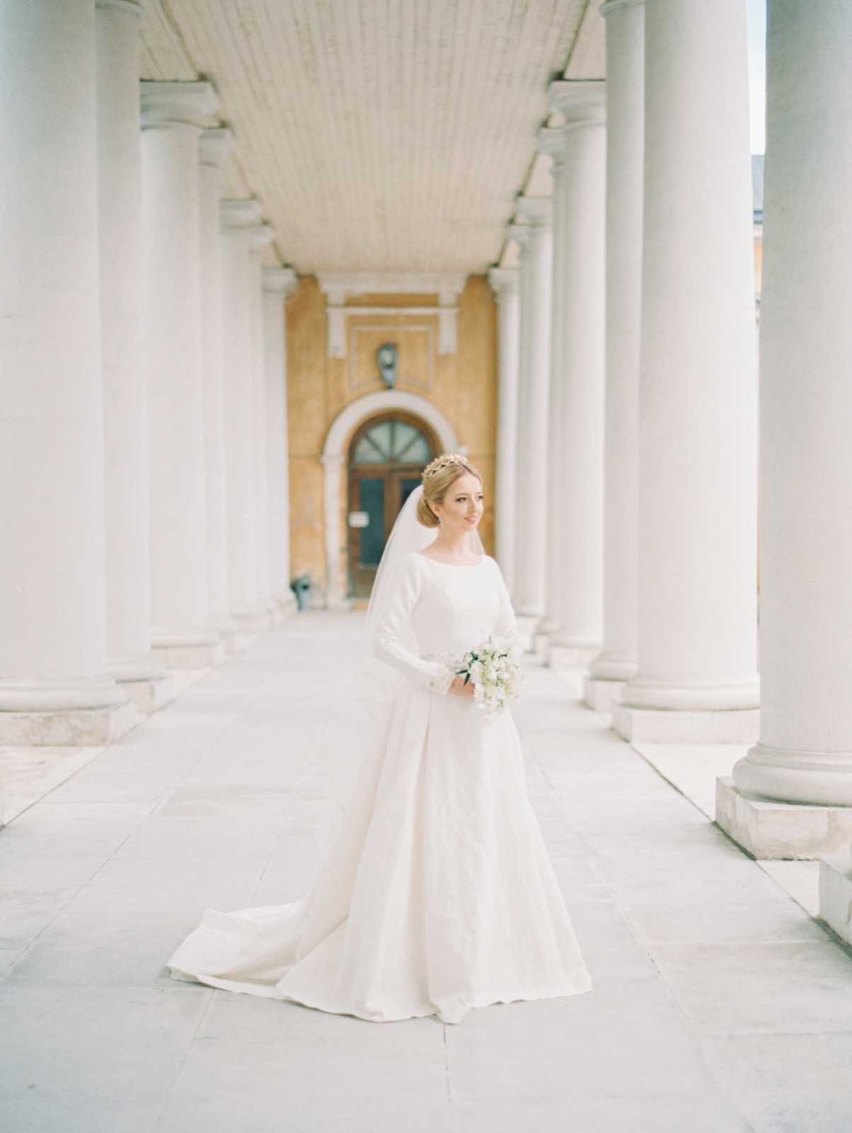 bride in colonnade