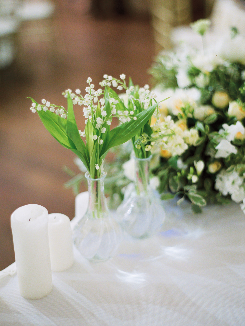 wedding lilly of the valley candles
