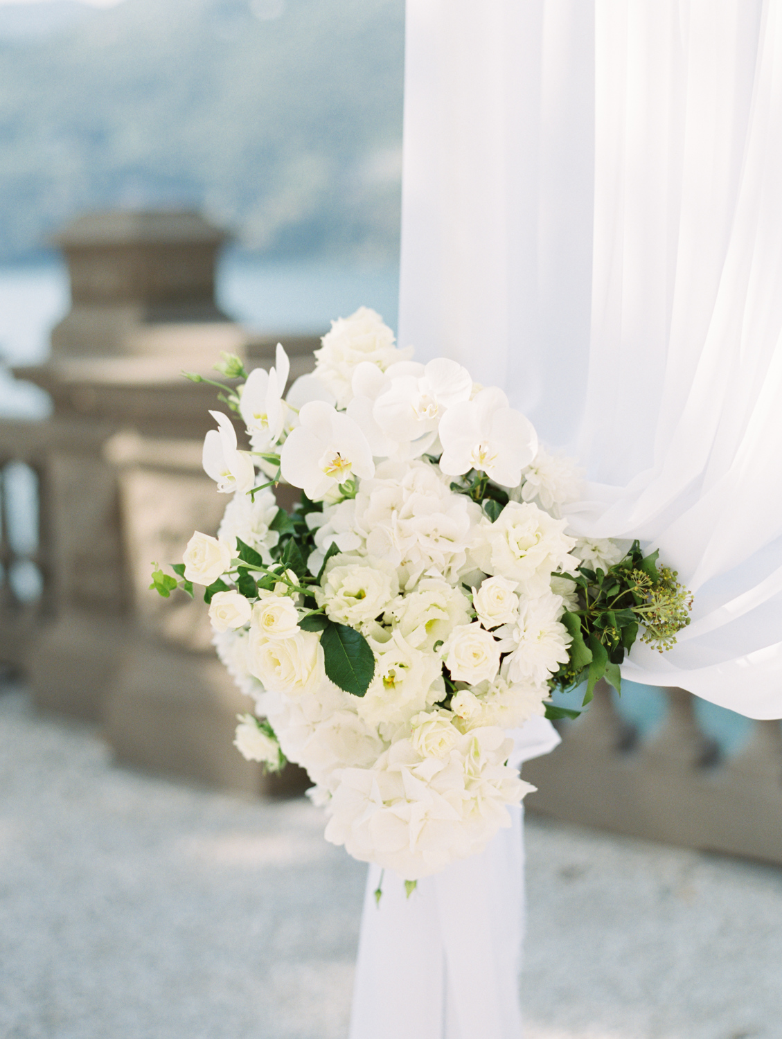 white flower decoration wedding ceremony castadiva resort