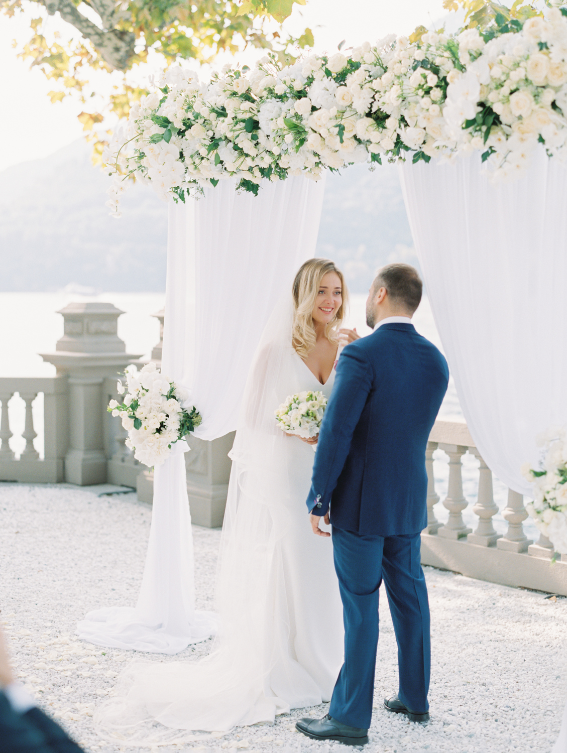 Bride crying wedding lago di como