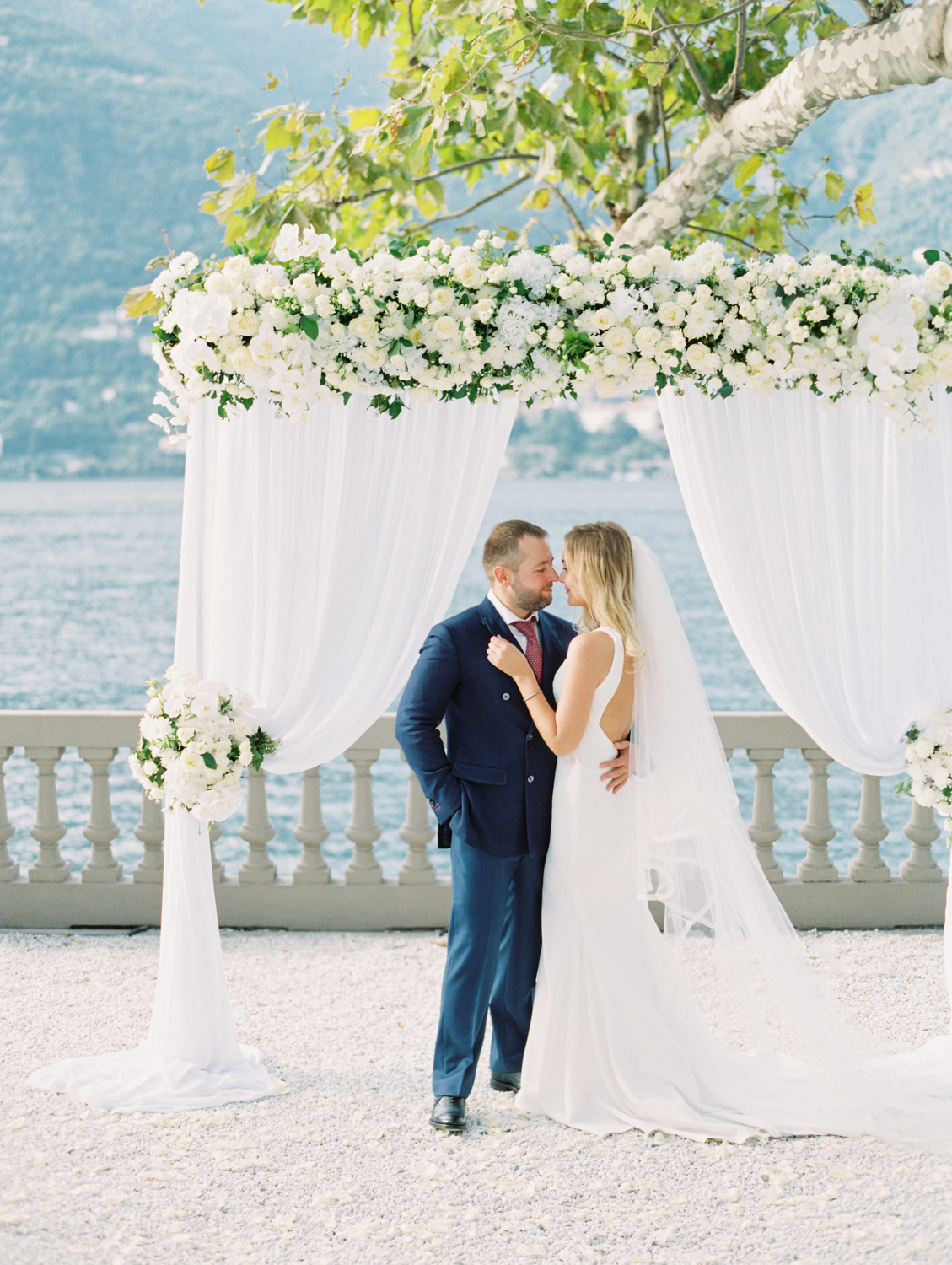 Happy couple at the wedding ceremony on lake como