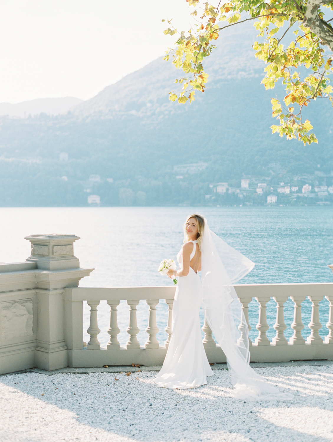 Beautiful romantic bride on Lake Como