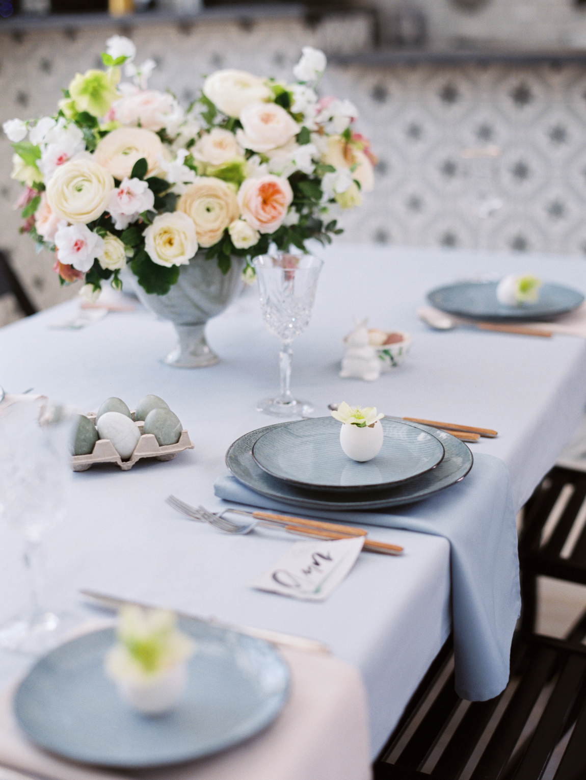 grey easter setting table